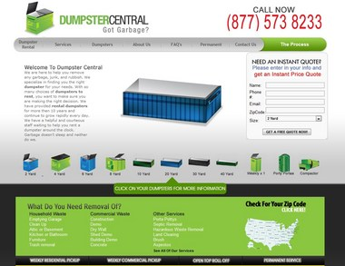 A screen capture of the Dumpster Central home page. Courtesy DumpsterCentral.com